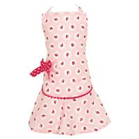 Förkläde till barn Strawberry, Pale pink w/bow