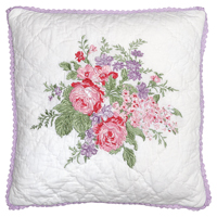 Kuddfodral Rose, White w/embroidery