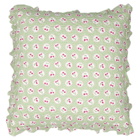 Kuddfodral Cherry berry, Pale green w/frill