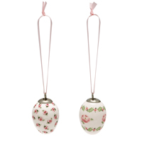 Decorative egg Lily, Petit white set of 2 hanging