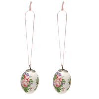 Decorative egg Rose, White set of 2 hanging