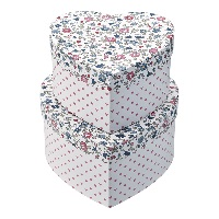 Storage box heart Ruby, Petit white set of 2
