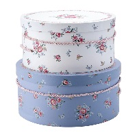 Storage box round Nicoline, White set of 2
