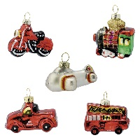 Julgranskula Christmas car, Red set of 5