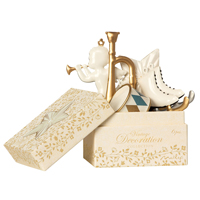 Ask med julpynt, White/gold