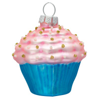 Ornament glass Cupcake, Pale pink glitter