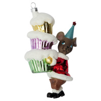 Ornament glass Mouse, Red w/cakes