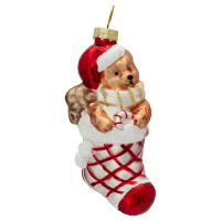 Ornament glass Stocking, Red w/bear