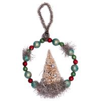 Glass pearl ornament w/tree, White small