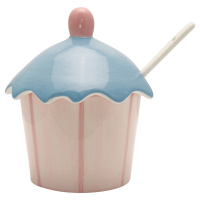 Jam jar w/spoon Stripe, Pale pink