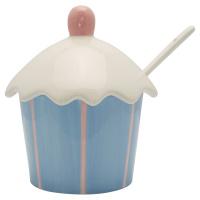 Jam jar w/spoon Stripe, Pale blue