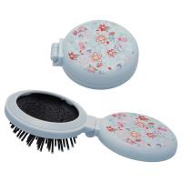 Pocket mirror round w/brush Belle, Pale blue