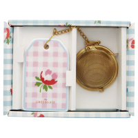 Tea infuser Viola check, Pale pink w/chain