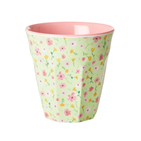 Melamine cup with Green Easter Flower print, Medium