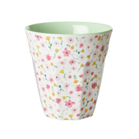 Melamine cup with White Easter Flower print, Medium