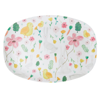 Melamine Rectangular Plate with White Easter Print