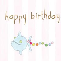 Kort Axel, Happy Birthday fisk rosa rand