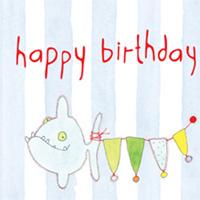 Kort Axel, Happy Birthday fisk blå rand