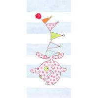 Tore kort, blommig fisk blå rand