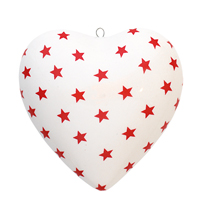 Xmas Ceramic Heart Star, Red