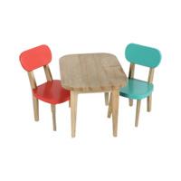 Träbord och två stolar, Korall och Turkos
