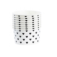 Ice cream cups w/spoons black hearts, 8 pcs