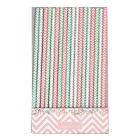 Paper straw Ziggy, Pink 20 pcs