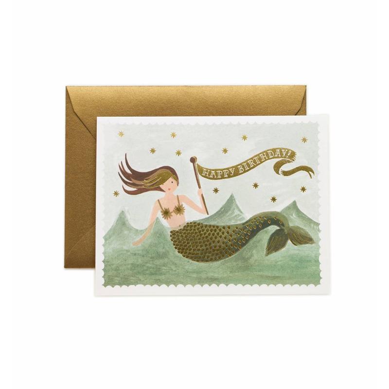 a10665-2x.jpg - Kort med kuvert, Vintage Mermaid Birthday - Elsashem Butiken med det lilla extra...