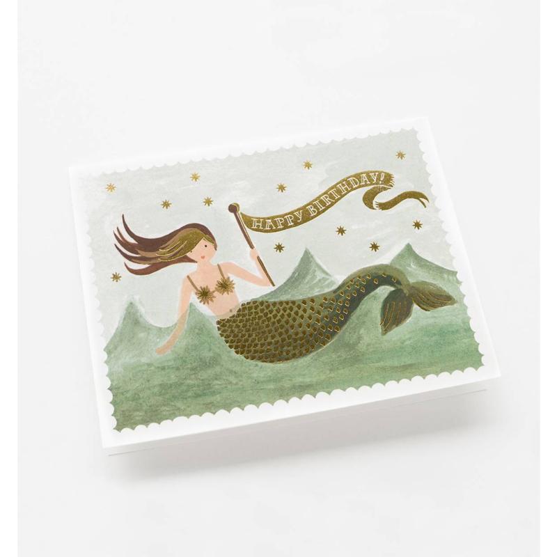 a10665x.jpg - Kort med kuvert, Vintage Mermaid Birthday - Elsashem Butiken med det lilla extra...
