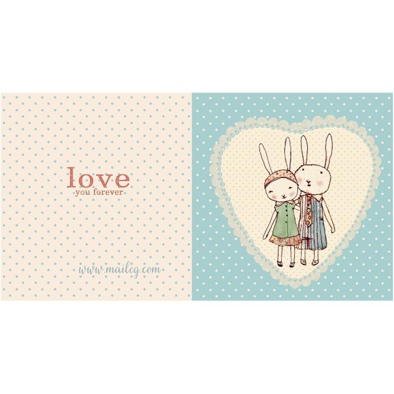 a10696x.jpg - Kort med kuvert, Bunnies in Love - Elsashem Butiken med det lilla extra...
