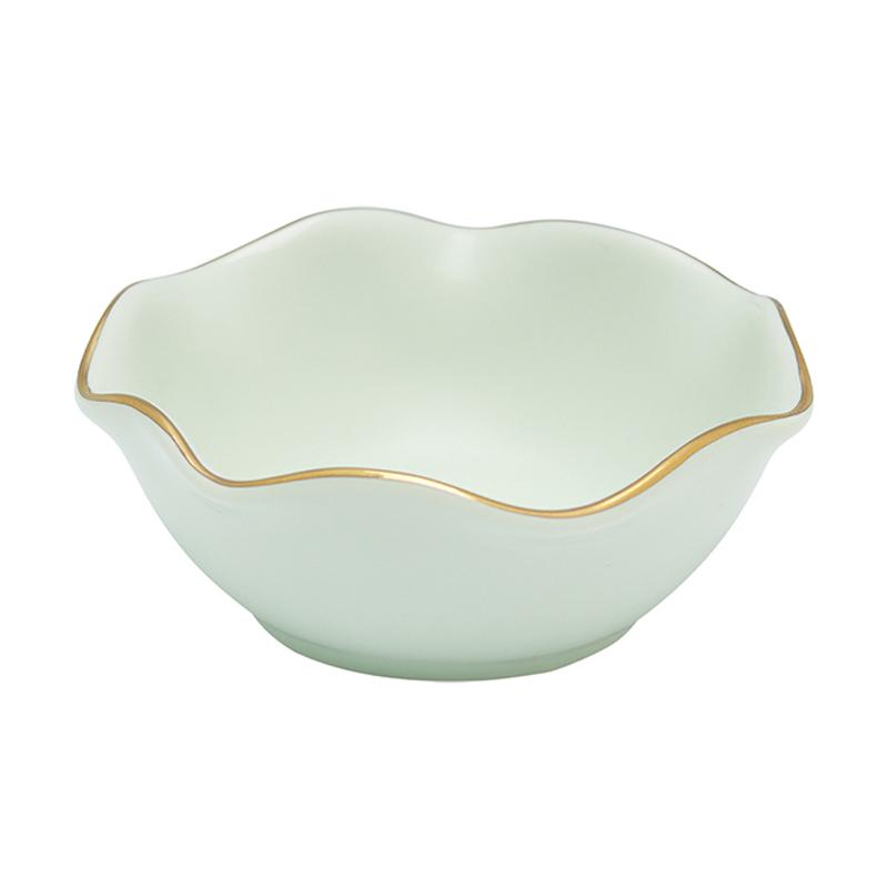 a10811x.jpg - Mini bowl w/wavy golden edge, Pastel green - Elsashem Butiken med det lilla extra...