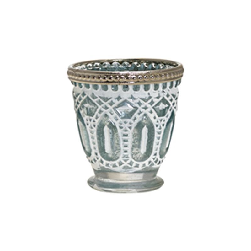 a11172x.jpg - Tealight glass w/metal rim, Pale blue - Elsashem Butiken med det lilla extra...