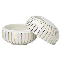 Senaste nytt Bowl with lid, Stripe gold