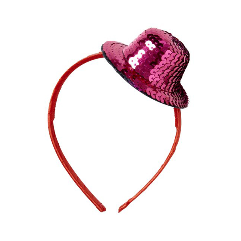 a11618x.jpg - Hairband with Sequined Top Hat, Pink - Elsashem Butiken med det lilla extra...