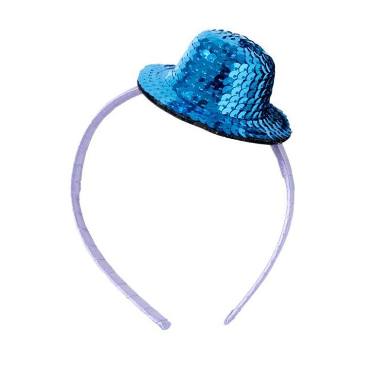 a11620x.jpg - Hairband with Sequined Top Hat, Blue - Elsashem Butiken med det lilla extra...