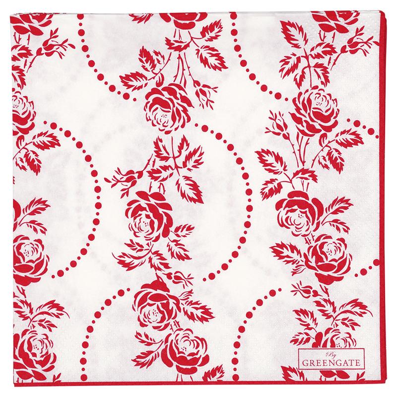 a12285x.jpg - Servetter Fleur, Red - Elsashem Butiken med det lilla extra...