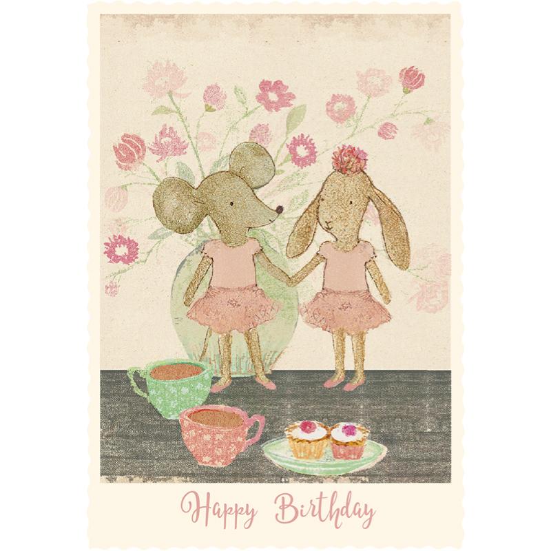 a12415x.jpg - Kort med kuvert, Ballerina Mice - Elsashem Butiken med det lilla extra...