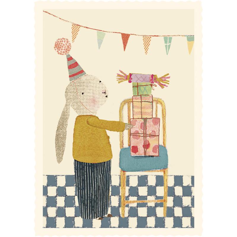 a12417x.jpg - Litet kort, Bunny with presents - Elsashem Butiken med det lilla extra...