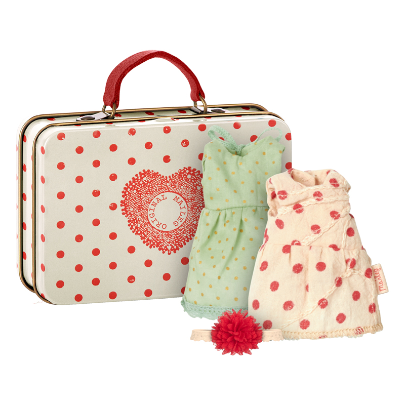 a12508x.jpg - Väska , Prickig inkl 2 klänningar - Elsashem Butiken med det lilla extra...