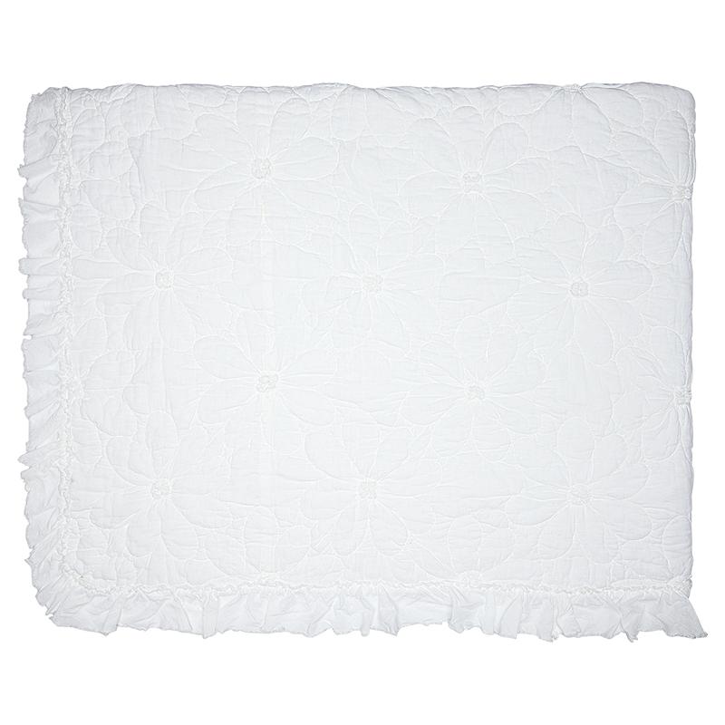 a12708x.jpg - Överkast Flower, White stitch w/frill - Elsashem Butiken med det lilla extra...