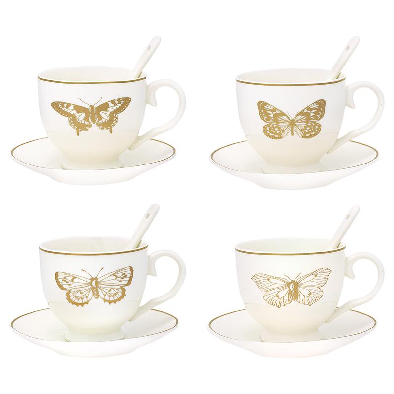 a12734x.jpg - Cup & saucer w/spoon Butterfly gold set of 4 - Elsashem Butiken med det lilla extra...
