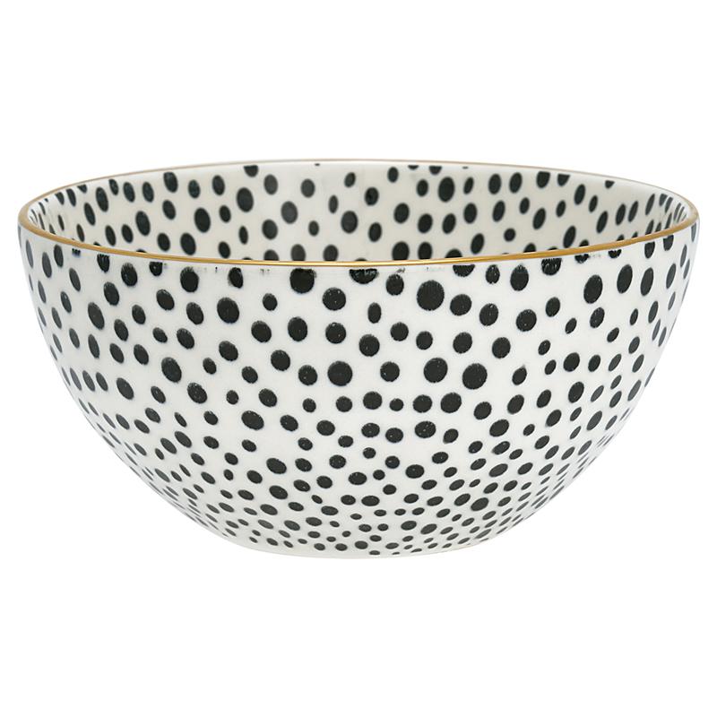 a12815x.jpg - Skål Dot, Black w/gold Medium - Elsashem Butiken med det lilla extra...