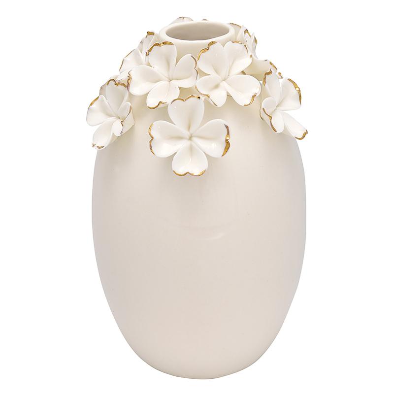 a12931x.jpg - Vase Flower, White w/gold large - Elsashem Butiken med det lilla extra...