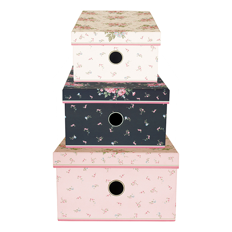 a13037x.jpg - Storage box set of 3 assorted Marley, Pale pink - Elsashem Butiken med det lilla extra...