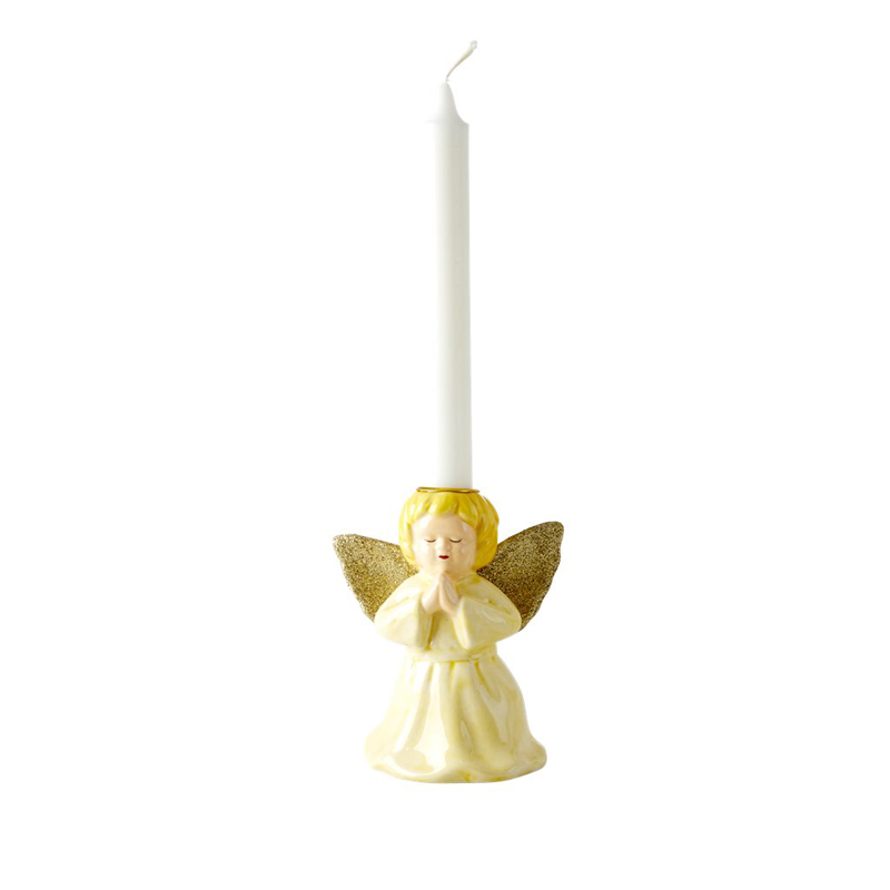 a13212-2x.jpg - Ceramic candle holder in angel shape, Ljusgul - Elsashem Butiken med det lilla extra...