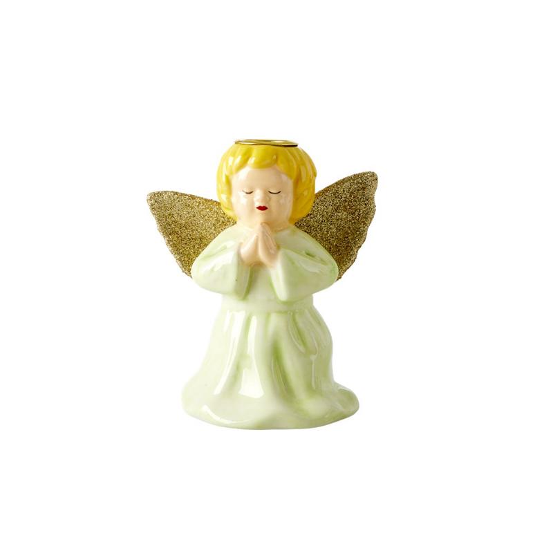 a13213x.jpg - Ceramic candle holder in angel shape, Ljusgrön - Elsashem Butiken med det lilla extra...