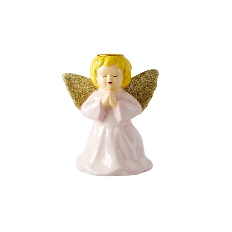 a13214x.jpg - Ceramic candle holder in angel shape, Ljusrosa - Elsashem Butiken med det lilla extra...