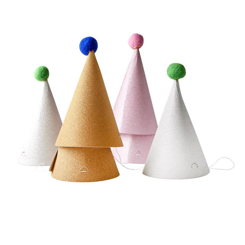 a13234x.jpg - Paper party hat with Pom Pom - 6 pcs - Elsashem Butiken med det lilla extra...