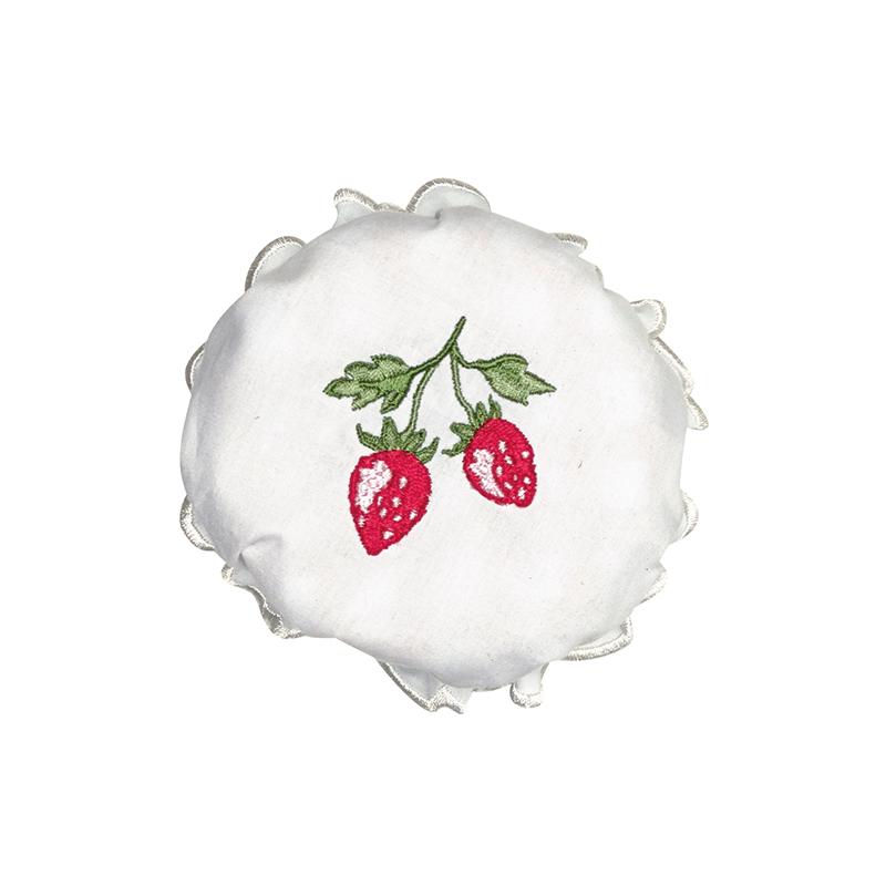 a13362x.jpg - Jam lid cover Strawberry, White w/embroidery - Elsashem Butiken med det lilla extra...