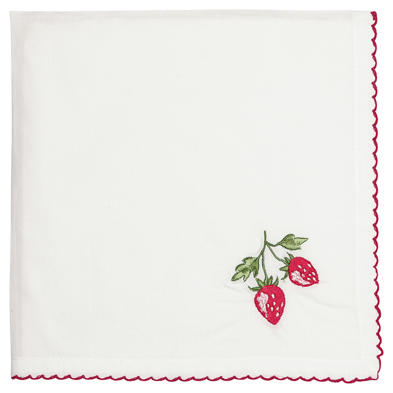 a13364x.jpg - Servett Strawberry, Red w/embroidery - Elsashem Butiken med det lilla extra...